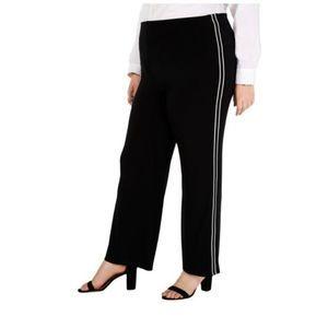 Alfani Plus 3X Striped Stretch Wide Leg Pants